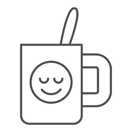 Cup with teaspoon thin line icon. Souvenir mug with smiley vector illustration isolated on white. Drink outline style design, designed for web and app. Stok Fotoğraf - 132074780