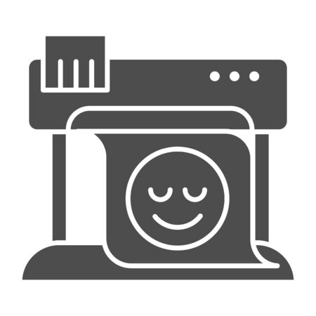 Plotter solid icon. Large format printer vector illustration isolated on white. Print machine glyph style design, designed for web and app.  イラスト・ベクター素材