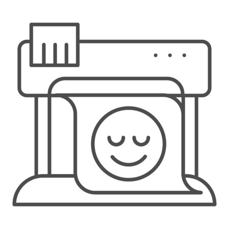 Plotter thin line icon. Large format printer vector illustration isolated on white. Print machine outline style design, designed for web and app.  イラスト・ベクター素材
