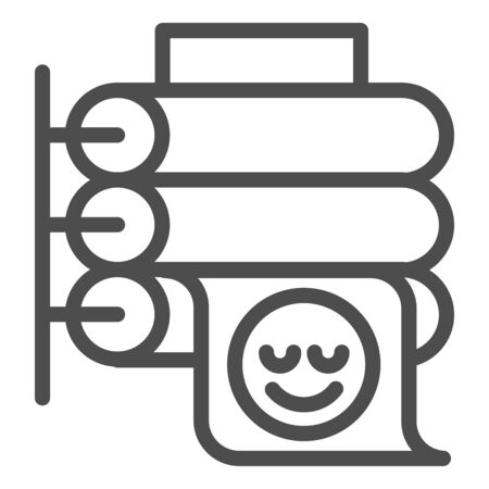 Printing press line icon. Large format printer vector illustration isolated on white. Placard printing outline style design, designed for web and app.  イラスト・ベクター素材