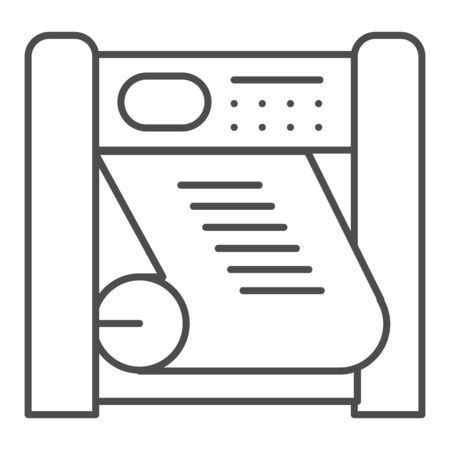 Plotter printing thin line icon. Large format printer vector illustration isolated on white. Printing device outline style design, designed for web and app.  イラスト・ベクター素材