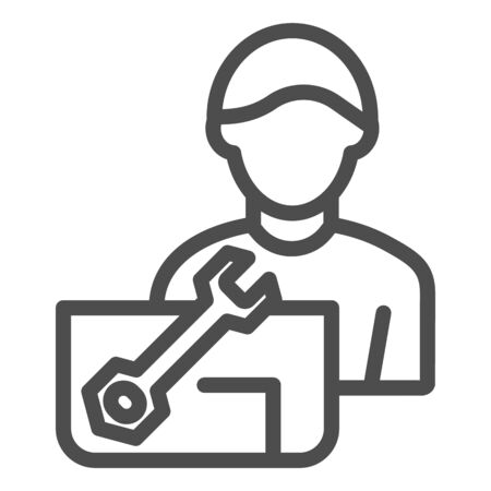 Repair engineer line icon. Worker man vector illustration isolated on white. Workman and spanner outline style design, designed for web and app.