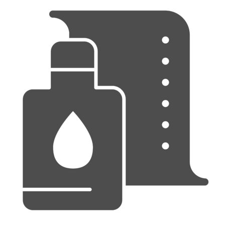 Printer cartridge solid icon. Printer paint can vector illustration isolated on white. Ink paint bottle glyph style design, designed for web and app.  イラスト・ベクター素材