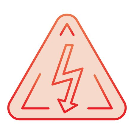 High voltage sign flat icon. Danger electricity red icons in trendy flat style. Triangle hazard symbol with lightning gradient style design, designed for web and app.