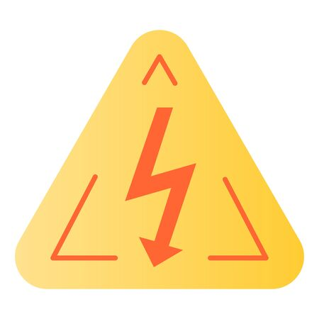 High voltage sign flat icon. Danger electricity color icons in trendy flat style. Triangle hazard symbol with lightning gradient style design, designed for web and app. Stock fotó - 132075759