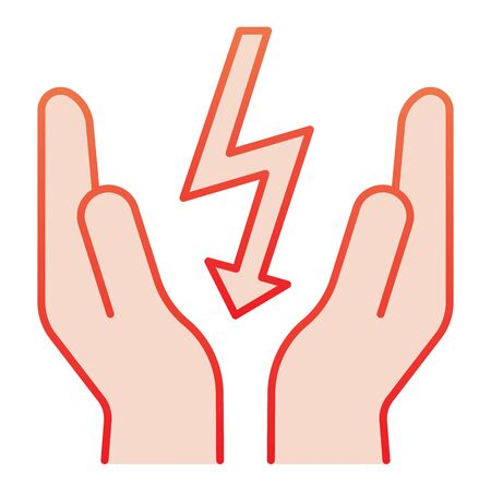 Lightning bolt in hands flat icon. Save electricity red icons in trendy flat style. Electrician safety gradient style design, designed for web and app. Stock fotó - 132075760