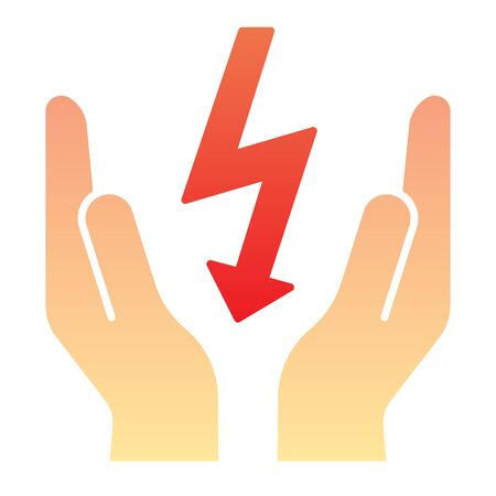 Lightning bolt in hands flat icon. Save electricity color icons in trendy flat style. Electrician safety gradient style design, designed for web and app.