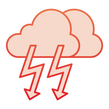 Cloud with thunder flat icon. Lightning with cloud red icons in trendy flat style. Rainy climate gradient style design, designed for web and app.