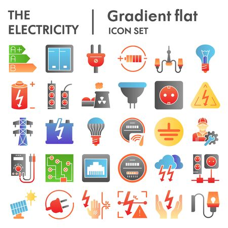 Electricity flat icon set, power symbols collection, vector sketches, illustrations, electrician energy signs color gradient pictograms package isolated on white background, eps 10