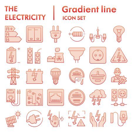 Electricity flat icon set, power symbols collection, vector sketches, illustrations, electrician energy signs red gradient pictograms package isolated on white background Illusztráció