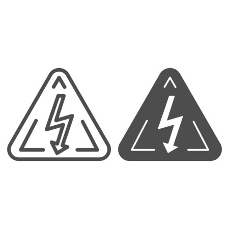 High voltage sign line and glyph icon. Danger electricity vector illustration isolated on white. Triangle hazard symbol with lightning outline style design, designed for web and app.
