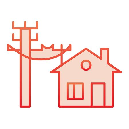 House electrification flat icon. Electricity and home red icons in trendy flat style. Electric cords and house gradient style design, designed for web and app. Foto de archivo - 132075780