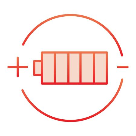 Battery charge flat icon. Full battery red icons in trendy flat style. Alkaline gradient style design, designed for web and app.