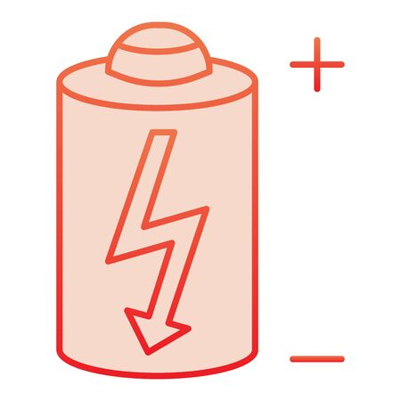 Battery flat icon. Power battery red icons in trendy flat style. Alkaline with bolt gradient style design, designed for web and app.