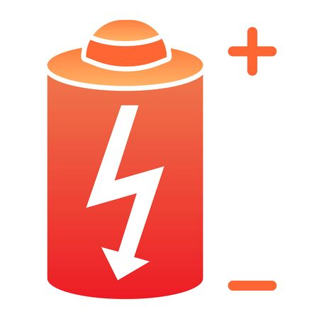 Battery flat icon. Power battery color icons in trendy flat style. Alkaline with bolt gradient style design, designed for web and app. Illusztráció