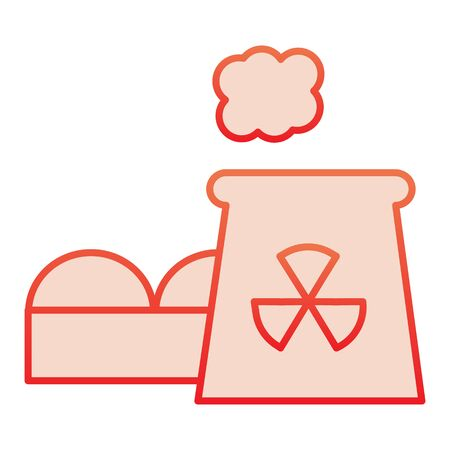 Power plant flat icon. Nuclear plant red icons in trendy flat style. Industrial factory gradient style design, designed for web and app.