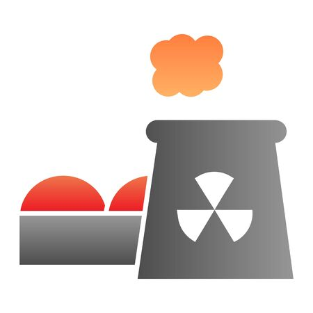 Power plant flat icon. Nuclear plant color icons in trendy flat style. Industrial factory gradient style design, designed for web and app.