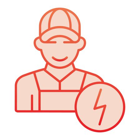 Electrician flat icon. Man electric red icons in trendy flat style. Electricity worker gradient style design, designed for web and app.