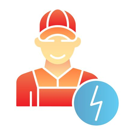 Electrician flat icon. Man electric color icons in trendy flat style. Electricity worker gradient style design, designed for web and app.  イラスト・ベクター素材
