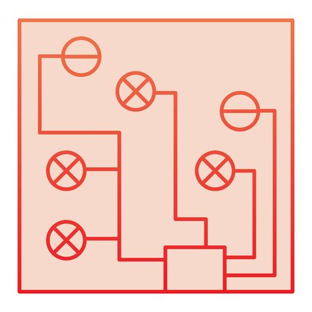 Circuit board flat icon. Electric scheme red icons in trendy flat style. Microchip gradient style design, designed for web and app.  イラスト・ベクター素材
