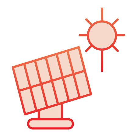 Solar panel flat icon. Sun energy red icons in trendy flat style. Solar power gradient style design, designed for web and app.