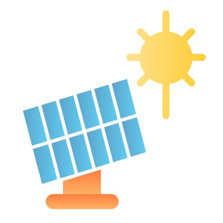 Solar panel flat icon. Sun energy color icons in trendy flat style. Solar power gradient style design, designed for web and app.