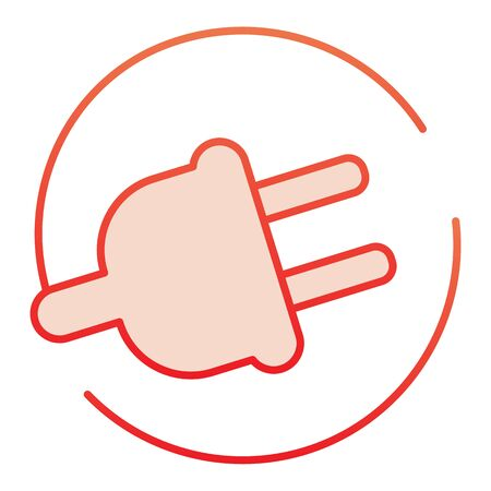 Electric plug flat icon. Power cord red icons in trendy flat style. Cable outlet gradient style design, designed for web and app.