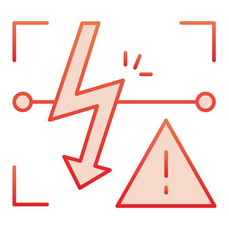 Energized symbol flat icon. Triangle electric hazard red icons in trendy flat style. High voltage caution gradient style design, designed for web and app.