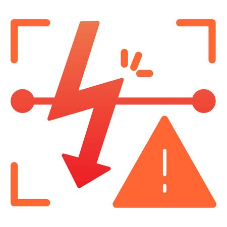 Energized symbol flat icon. Triangle electric hazard color icons in trendy flat style. High voltage caution gradient style design, designed for web and app.