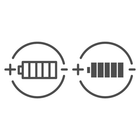 Battery charge line and glyph icon. Full battery vector illustration isolated on white. Alkaline outline style design, designed for web and app.  イラスト・ベクター素材