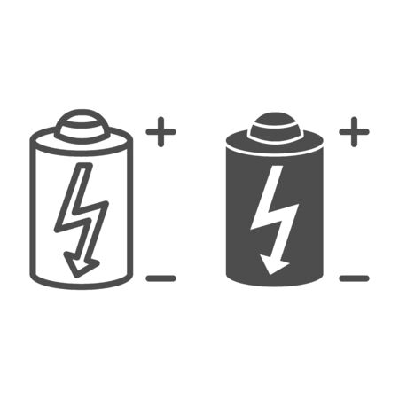 Battery line and glyph icon. Power battery vector illustration isolated on white. Alkaline with bolt outline style design, designed for web and app. Illusztráció