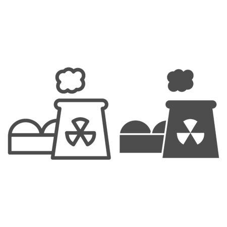Power plant line and glyph icon. Nuclear plant vector illustration isolated on white. Industrial factory outline style design, designed for web and app.