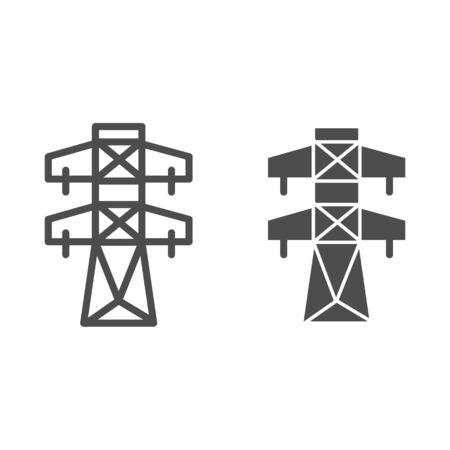 High voltage line line and glyph icon. Electric tower vector illustration isolated on white. Electricity outline style design, designed for web and app. Vectores