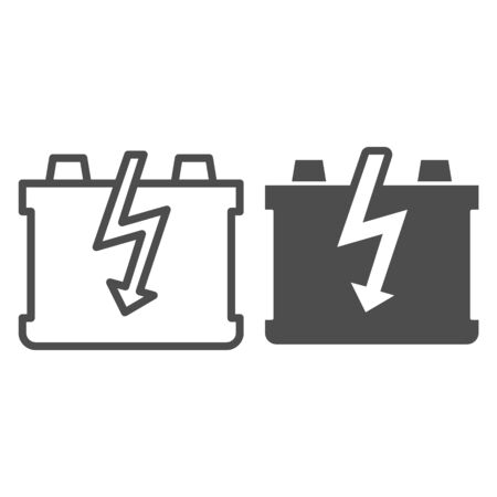 Car battery line and glyph icon. Charge battery vector illustration isolated on white. Accumulator outline style design, designed for web and app.