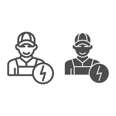 Electrician line and glyph icon. Man electric vector illustration isolated on white. Electricity worker outline style design, designed for web and app.