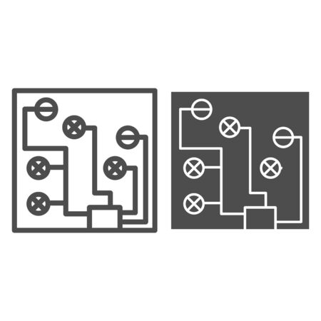 Circuit board line and glyph icon. Electric scheme vector illustration isolated on white. Microchip outline style design, designed for web and app. 写真素材 - 132076258