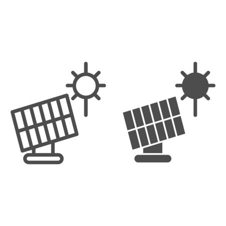 Solar panel line and glyph icon. Sun energy vector illustration isolated on white. Solar power outline style design, designed for web and app.