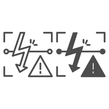 Energized symbol line and glyph icon. Triangle electric hazard sign vector illustration isolated on white. High voltage caution outline style design, designed for web and app. Illustration