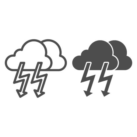 Cloud with thunder line and glyph icon. Lightning with cloud vector illustration isolated on white. Rainy climate outline style design, designed for web and app. Stock fotó - 132076269