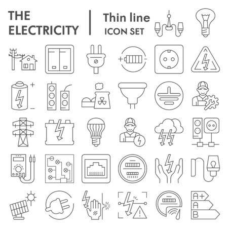 Electricity thin line icon set, power symbols collection, vector sketches, illustrations, electrician energy signs linear pictograms package isolated on white background, eps 10. Illusztráció