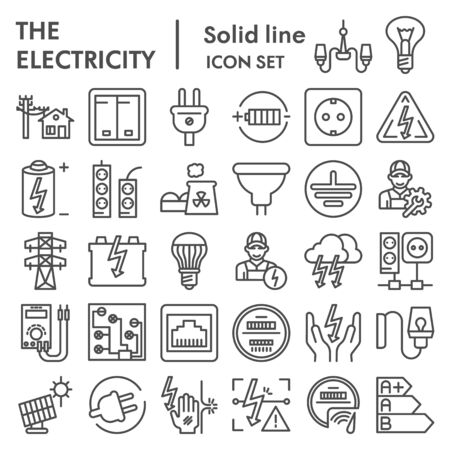 Electricity line icon set, power symbols collection, vector sketches, illustrations, electrician energy signs linear pictograms package isolated on white background,