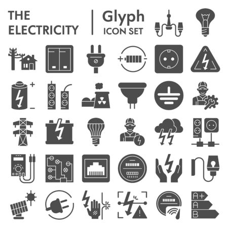 Electricity glyph icon set, power symbols collection, vector sketches, logo illustrations, electrician energy signs solid pictograms package isolated on white background,
