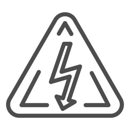 High voltage sign line icon. Danger electricity vector illustration isolated on white. Triangle hazard symbol with lightning outline style design, designed for web and app.
