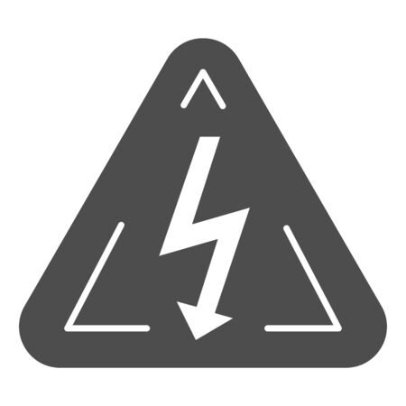 High voltage sign solid icon. Danger electricity vector illustration isolated on white. Triangle hazard symbol with lightning glyph style design, designed for web and app.