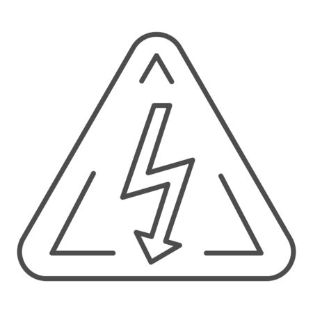 High voltage sign thin line icon. Danger electricity vector illustration isolated on white. Triangle hazard symbol with lightning outline style design, designed for web and app.