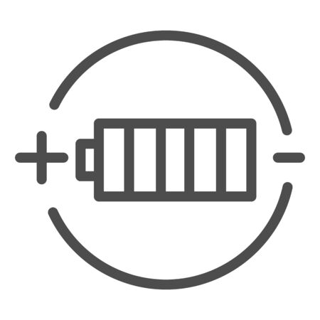 Battery charge line icon. Full battery vector illustration isolated on white. Alkaline outline style design, designed for web and app.  イラスト・ベクター素材