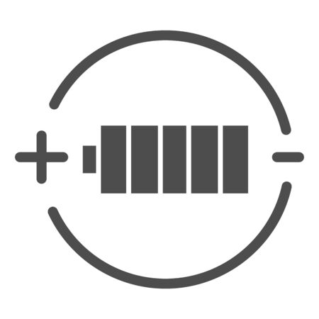 Battery charge solid icon. Full battery vector illustration isolated on white. Alkaline glyph style design, designed for web and app. Eps 10.