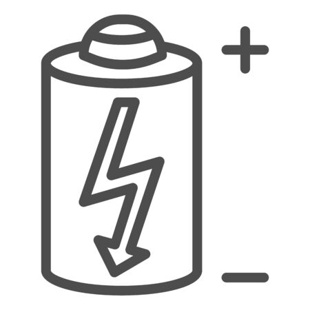 Battery line icon. Power battery vector illustration isolated on white. Alkaline with bolt outline style design, designed for web and app. Eps 10.