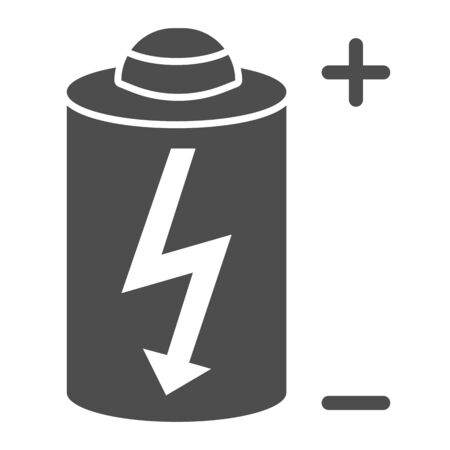 Battery thin solid icon. Power battery vector illustration isolated on white. Alkaline with bolt glyph style design, designed for web and app. Eps 10.