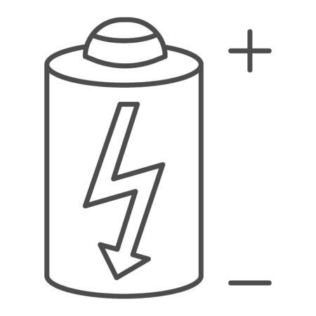 Battery thin line icon. Power battery vector illustration isolated on white. Alkaline with bolt outline style design, designed for web and app. Eps 10. Stock fotó - 132078416